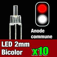 740/10# 10pcs LED bi-color anode commune 2mm blanc - rouge - idéal digital