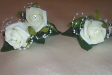 WEDDING FLOWERS IVORY FOAM ROSE BUTTONHOLE PACKAGE x 6 WITH PEARLS + DIAMANTE