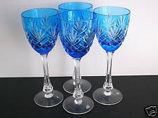 """4 Faberge Odessa ED1 Azure lt blue cased cut to clear 8 3/8"""" Wine Goblets SIGNED"""