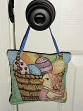 Easter Basket w/Eggs & Chick Tapestry Word Pillow Door Hanger