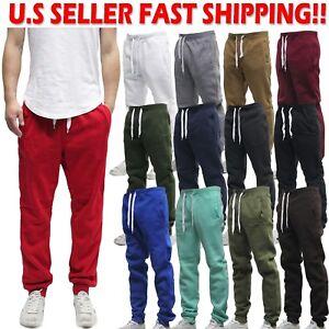 Plain Jogger Pants Active Solid Fleece Sweat Pants by WT02