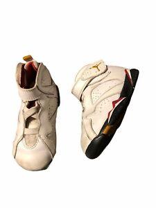 Nike Air Jordan 7 Retro High Top Sneakers Toddler Size 7C White Red 304772-106