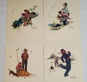 Norman Rockwell Vintage Embossed Print Set 4 Seasons Adventures Grandpa and Me