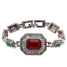 Rectangle Amazing Antique Silver Red, Green Stones Vintage Style Bracelet BB192