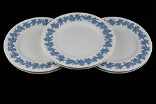 SET OF 6 WEDGWOOD QUEENSWARE LAVENDER ON CREAM EMBOSSED DINNER PLATES - MINT