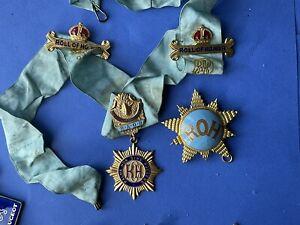 Vintage Gle And Roll Of Honour Medal Badges & Ribbon RAOB Buffaloes Etc Masonic