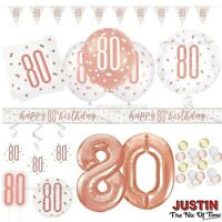 Rose Gold 80th Birthday Party Decorations Girls Ladies Balloons Banners Age 80
