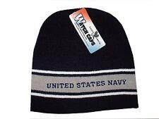 Embroidered Grey Blue Navy Logo Military US Stripe Stocking Cap Beanie Winter