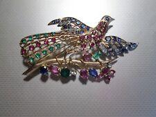 sapphire bird pheasant peacock pin brooch 14k yellow gold diamond ruby emerald