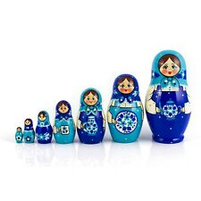 Russian Doll Matryoshka Nesting Doll Hand Painted in Russia Blue White Teapot