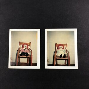 Lot of 2 Vintage Polaroid Land Photograph Seated Dolls Creepy
