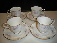 4  GORHAM FINE CHINA ''JOLIE'' CUP AND SAUCER SETS