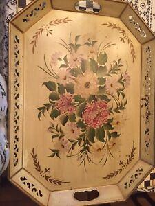 Vintage Pilgrim Art Tole Gold Floral Tray