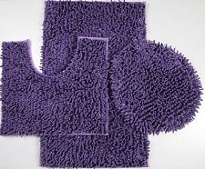 3Piece Mixed Shiny Chenille Bath Mats Set Made with super soft Microfiber Purple