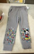 Disney 4T Christmas Holiday Mickey Mouse Pants Gray Polyester Blend