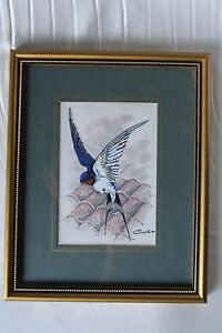 1950s Cashs Miniature Woven Picture England Swallowtail