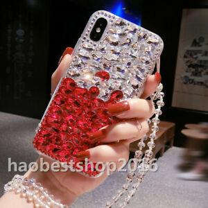 Handmade Luxury Sparkle Bling Diamond Rhinestone Soft Phone Case with neck strap