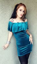 Sexy teal velvet velour dress NWT Size S ocean blue ruffle off shoulder dress