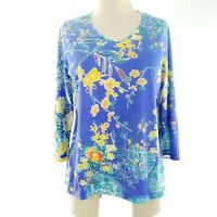 Chicos Women Knit Top Sz 1 (Medium) Weekends Purple Yellow Orange Floral  New