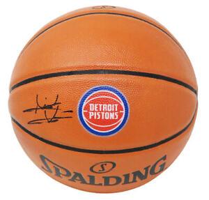Isiah Thomas Signed Spalding Detroit Pistons Logo  Replica NBA Basketball - SS