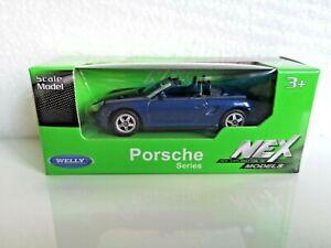 🚓 WELLY NEX CAR Scale Model 1:60 1/60 BOX PORSCHE BOXSTER blue cabrio