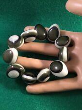 Retro Eames Mod Vintage Olive Green Lozenge Stretch Dress Bracelet Swing Party