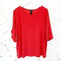Clara Sun Woo Top Size XL Pink Ruffle 3/4 Sleeves Oversized Stretch Knit Tunic