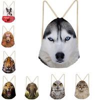 Wolf Cat Print Drawstring Backpack School PE Gym Swimming Bag Boys String Pack