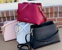 Michael Kors Sofia Large Leather EW Satchel Purse Bag Black Mulberry  White Pink