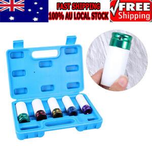 "5Pcs Lug Nut Impact Socket Set Metric Thin Wall Deep Wheel Protector 1/2"" Drive"
