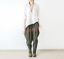 Spring Women Cotton Linen Loose Harem Wide Leg Pants Trouser Army Green One size