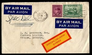 1946 Canada Sc #s 252 + 259 on Special Delivery Cover Winnipeg to Ottawa