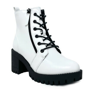 New Women's Lace Up Combat Ankle Bootie Lug Sole Mid Chunky Block Heel Boot