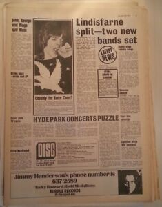 DAVID CASSIDY LINDISFARNE BEATLES 'news' 1973 UK ARTICLE / clipping