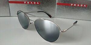 NEW PRADA SPS 50S 1AB-2F2 Mirror Polarized Sunglasses Pilot 57-17 FAST SHIP NIB
