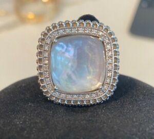 Di Modolo Motif Pave Diamonds Mother-of-Pearl Ring  Size 10 $995 Silver Designer