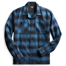 NWT RRL Ralph Lauren Shadow Plaid Blue Navy Shirt Men 2XL XXL Flannel Wool