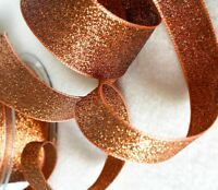 Metallic Glitter Ribbon Berisfords Copper Bronze Sparkly Lame 3, 7, 15, 25, 40mm