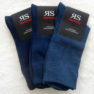 3 Pair XXL Socks without Elastic With Cotton and Spandex 3 Blue Tones 47 To 54