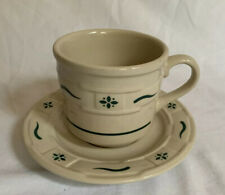 Longaberger Pottery Heritage Green Cup & Saucer Set (2 Pieces) Made in Usa