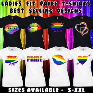 PRIDE T SHIRT LADIES WOMENS FIT UNISEX GAY PRIDE LESBIAN LGBTQ RAINBOW FASHION