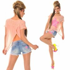 Chiffon star top coral pink pink sequin star lovely bare lowerback Festival