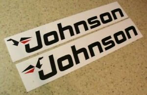 """Johnson Vintage Outboard Decal Die-Cut 8-1/2"""" 2-PAK FREE SHIP + FREE Fish Decal!"""