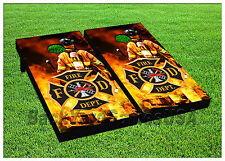 CORNHOLE BEANBAG TOSS GAME w Bags Game Board Fire Deparment USA Red Hot Set 712