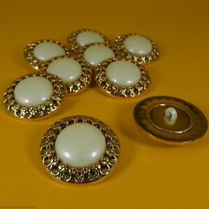 Gold Mount / Pearl Center Plastic - Shank Buttons (9 per bag) (30mm x 8mm)