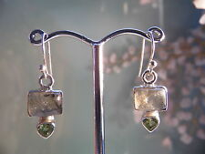 Labradorite & Peridot Earrings set en En argent sterling 925