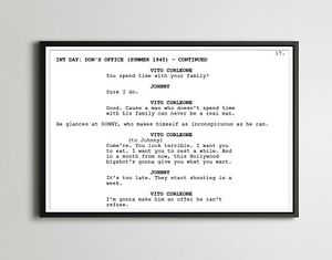 """The Godfather Movie Screenplay POSTER! (up to 24"""" x 36"""") - Film - Vito Corleone"""