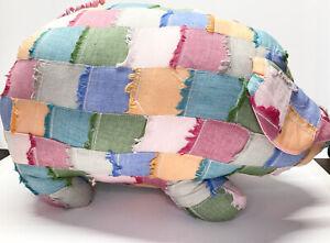 Homemade Pig Hog Patchwork Fabric Footstool Plush Pouf Pillow Decoration 21 X 14
