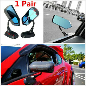 1 Pair F1 Style Car Side Blue Mirrors Carbon Fiber Look Universal Weatherproof