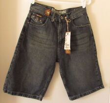 Chams Jeans Shorts Size 16 Long Bermuda Button Flap Pockets Lightly Distressed